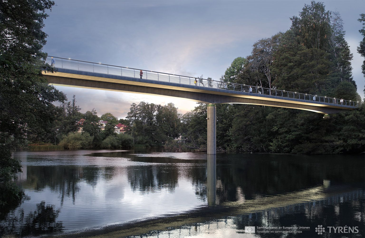 BRIDGE IN NORRKÖPING night 1 realistic 3D visualization architecture CGI high-end top quality lity DGE IN NORRKÖPING 1 realistic 3D visualization architecture CGI high-end top quality