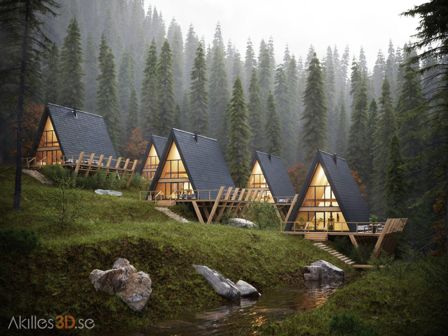 Cabins in the forest 1 - fog pines realistic 3D visualization exterior architecture CGI high-end top quality