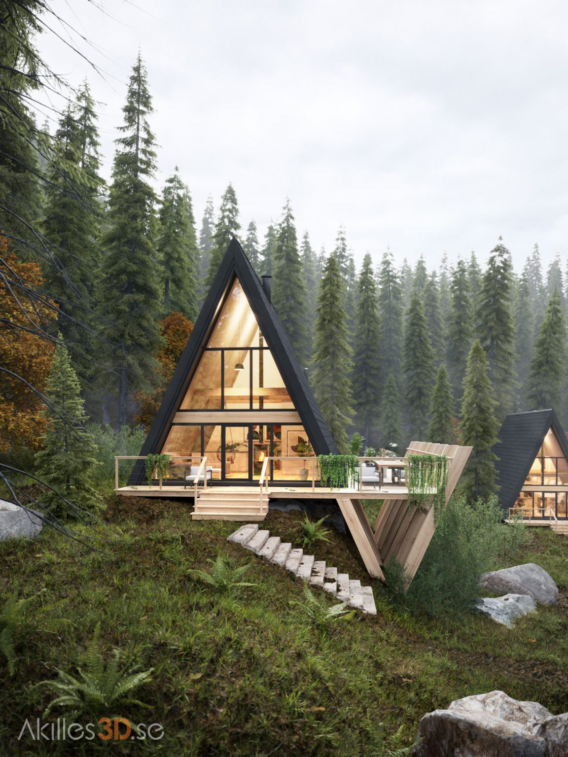 Cabins in the forest 2 - fog pines realistic 3D visualization exterior architecture CGI high-end top quality