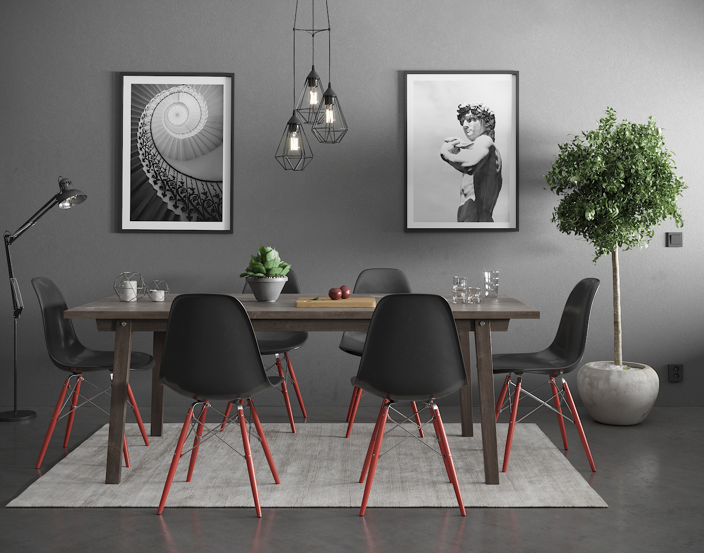 Dining-table realistic 3D visualization interior architecture CGI high-end top quality scandinavian illustration photorealistic