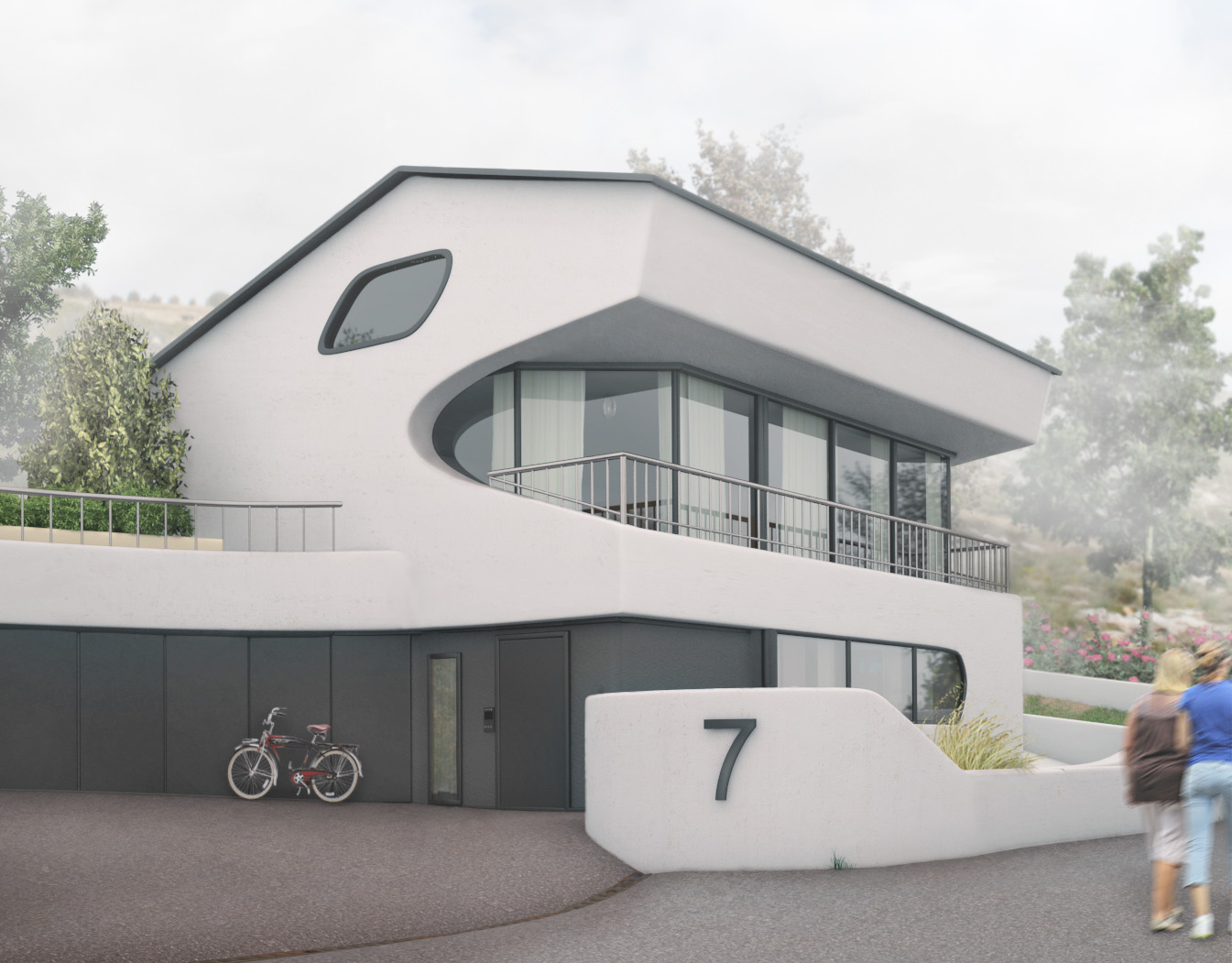 HOUSE IN FOG realistic 3D visualization architecture CGI high-end top quality scandinavian illustration photorealistic