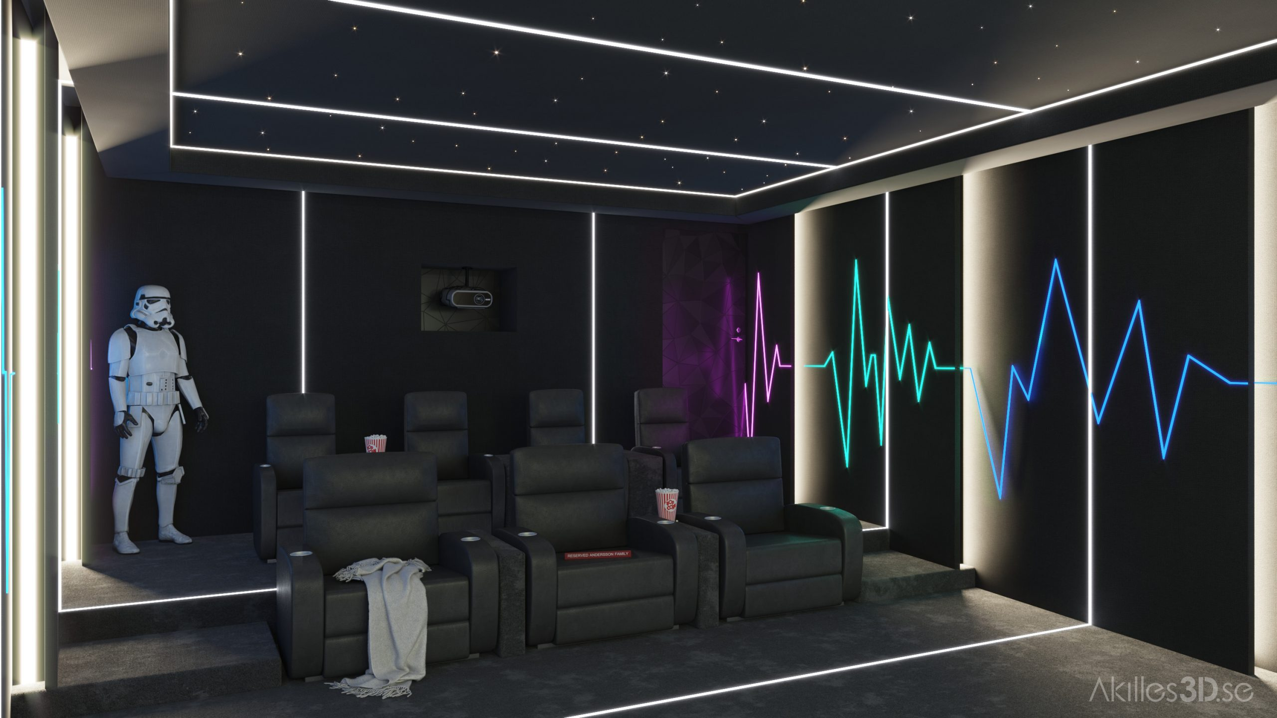 Home movie theatre 1 realistic 3D visualization interior architecture CGI high-end top quality scandinavian illustration photorealistic star wars imperial storm trooper statue