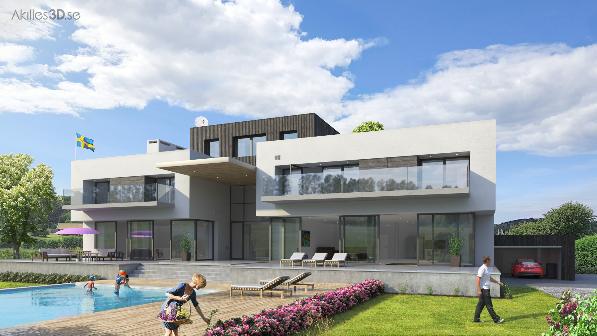 House Lundquist 1 - realistic 3D visualization residence exterior architecture CGI high-end top quality