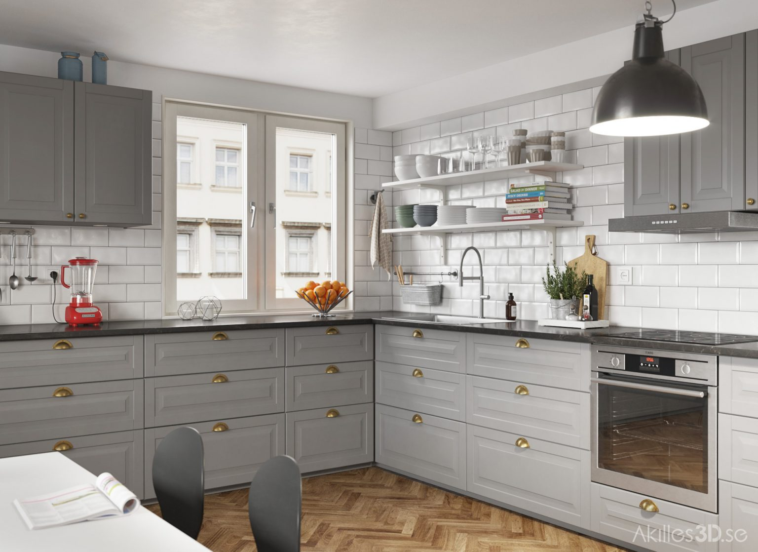 Kitchen realistic 3D visualization interior architecture CGI high-end top quality scandinavian illustration photorealistic