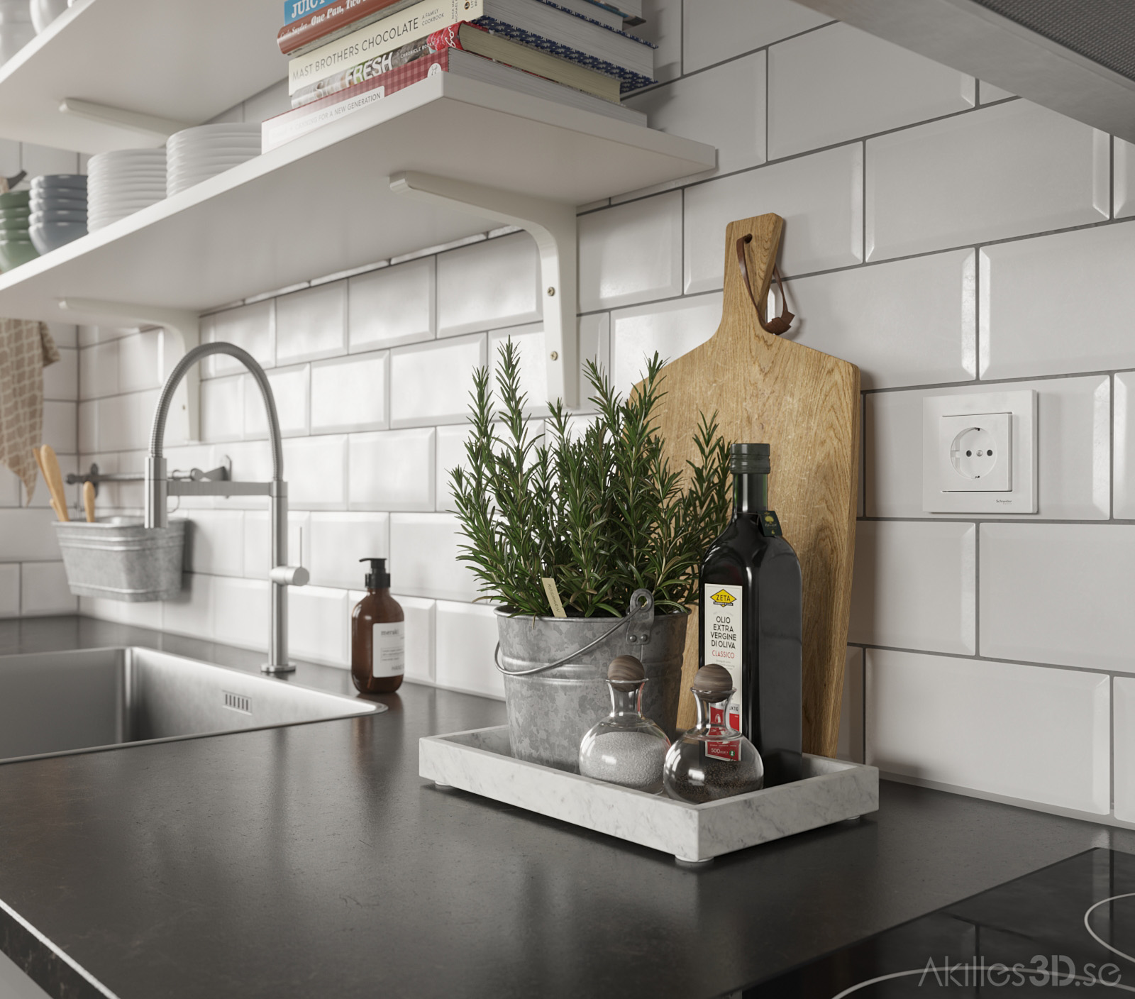 Kitchen Close-realistic 3D visualization interior architecture CGI high-end top quality scandinavian illustration photorealistic